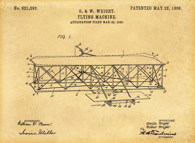 Patent 1906 Wright Brothers Airplane - Flying Machine Art Print ...