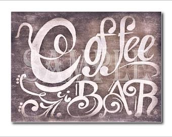 Chalkboard Coffee Bar Sign Printable Set ~ 4 Sizes 5 Digital Files, Black White Farmhouse Kitchen Art ~ Coffee Shop, Home, Wedding Reception
