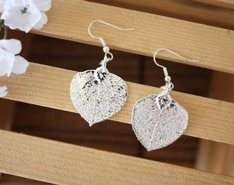 Silver Aspen Leaf Earrings, Real Leaf Earrings, Aspen Leaf, Sterling Silver Earrings, LESM183