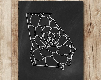 georgia map print, georgia map floral, chalkboard state map printable, georgia state print, black and white wall decor, instant download