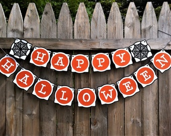 Halloween Banner - Happy Halloween - Halloween Party - Halloween Sign - Halloween Decoration - Baby Shower - Halloween Garland - Spider Webs