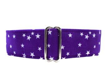 Purple Martingale Dog Collar, Purple Dog Collar, 1.5 Inch Martingale Collar, Stars Martingale Collar, Purple Stars, Stars Dog Collar