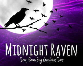 Raven Crow Shop Branding Banners, Avatar Icons, Business Card, Logo Label + More - 12 Premade Graphics Files - MIDNIGHT RAVEN