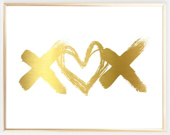 Real Gold Foil Print, Love Art, Xoxo Print, Gold Art, Typographic Print, Gold Foil Love, Inspirational Print, Gold Foil Love Unique gift