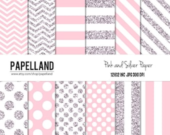 Pink and Silver Digital Paper Pack for scrapbooking, Making Cards, Tags, Invitations, party decor, backgrounds Intant donwload