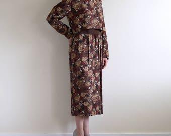 brown rose print mock neck dress with suede waist / high neck dress / button back dress / US6 / m