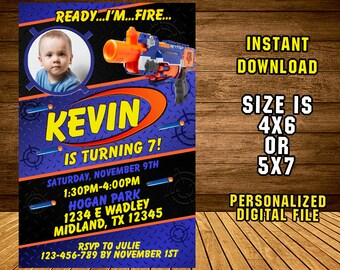 Nerf Gun Invitation/ Nerf Gun Birthday /Nerf Gun Party/ Nerf Gun Invite/ Nerf Birthday Invitation/ Nerf Party Invite/ F1235