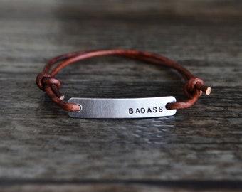 Badass Bracelet, hand stamped bracelet, leather wrap bracelet, stamped bracelet, leather bracelet, hand stamped jewelry, custom bracelet