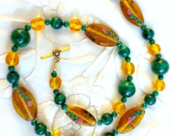 Malachite and Hand-Painted Bead Necklace