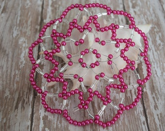 Hot Pink Beaded Kippah - Pink Pearl Kippah - Beaded Yarmulke - Young Lady Kippah - Bat Mitzvah Kippah.