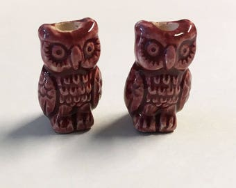 Owl Beads Red Large Hole Peruvian Ceramic Owl Beads 18mm 2 Beads
