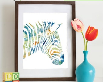 INSTANT DOWNLOAD - Watercolor Zebra Print, Watercolor silhouettes, Safari animals, Zebra , africa,  Nursery Print, animals, ItemWC034