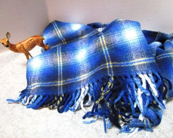 Vintage Plaid Stadium Blanket, Navy Baby Blue, Football Game Picnic College Tailgate Lap Robe Lodge Classic Warmth, Car Blanket Acrylic