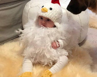 Baby Chicken Costume - Chicken Hat - Baby Chicken Hat, Booties and Feathered Romper - Soft Chicken Costume - by JoJosBootique