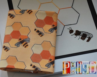 Unique 100% cotton fabric modern 'Sewing bees' motif digitally printed pattern fat quarter original embroidery design