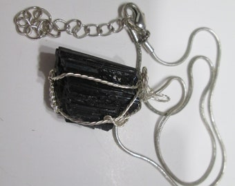 Black Tourmaline Silver tone Twist Wrap on Chain (1834)