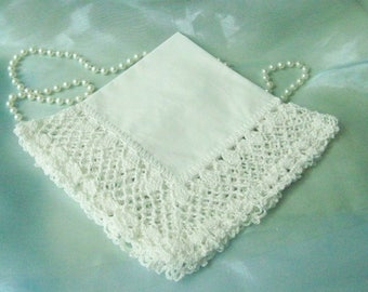 Heirloom Handkerchief, Heirloom Hanky, Heirloom Hankie, Hand Crochet, Lace Handkerchief, Lacy Hanky, Custom Embroidered, Ready to ship