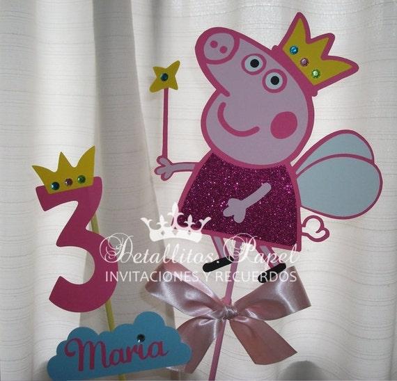Centro de mesa Peppa Pig, Peppa Pig Centerpiece, Peppa pig party