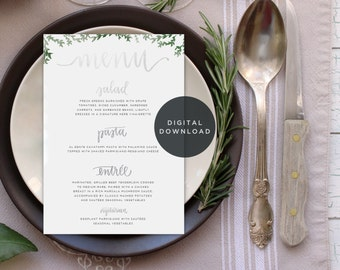 printable calligraphy wedding menu // custom handwritten menu design download // downloadable digital design for reception decor