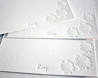 Personalized Letterpress Stationery Pikake Jasmine Blossoms