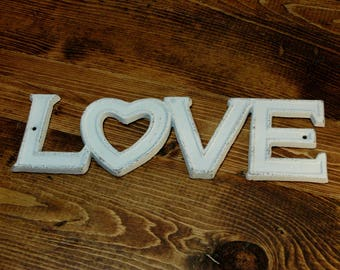 LOVE plaque, Cast iron, metal letters, metal words, Shabby Chic, Farmhouse decor, Bedroom Decor, LOVE words, Love, metal wall decor, LOVE
