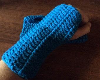Blue Pool Crochet Fingerless Gloves Wrist Warmers