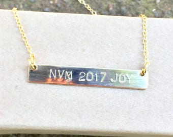 Bar Necklace, Hand Stamped Necklace,  Running Necklace , Marathon Necklace, Marathon , Mom Necklace