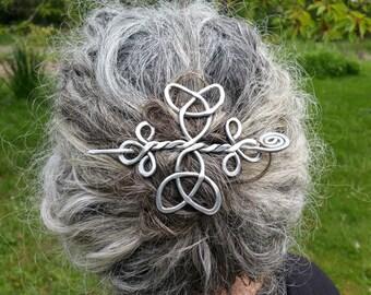 Celtic Trinity Knots Aluminum Hair Pin, Hair Barrette, Hair Slide, Hair Clip, Shawl Pin, Bun Holder, Long Hair Accessories, Knitting, Women