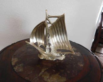 vintage solid brass sail boat