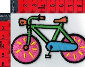 Colorful bicycle badge iron or sew. Patch applique