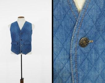 Vintage 70s Retro Denim Vest Belt Back Quilted Button Up - Size Medium