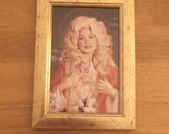 "Dolly Parton kitsch print in a gold 6x4"" frame"