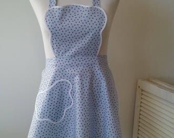 Retro WWII era, scalloped edges, flirty new apron in pale blue, made from an updated vintage pattern