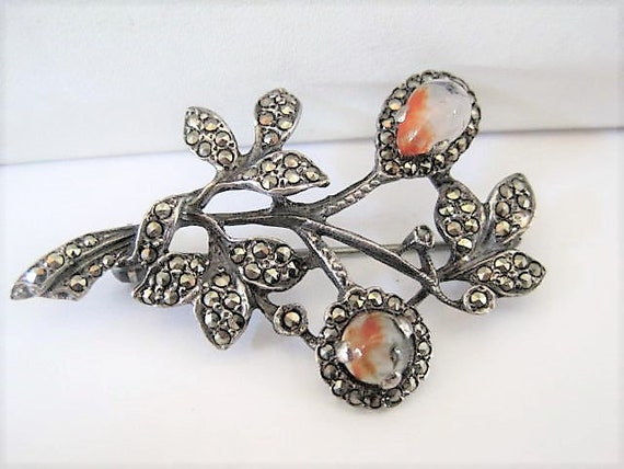 Sterling Marcasite Brooch, Glass Fire Opals,  Signed Floral Pin