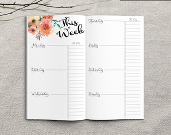 Printable Weekly Planner Inserts, Personal Weekly Planner Inserts, Printable Personal Notebook Weekly planner inserts, PDF file