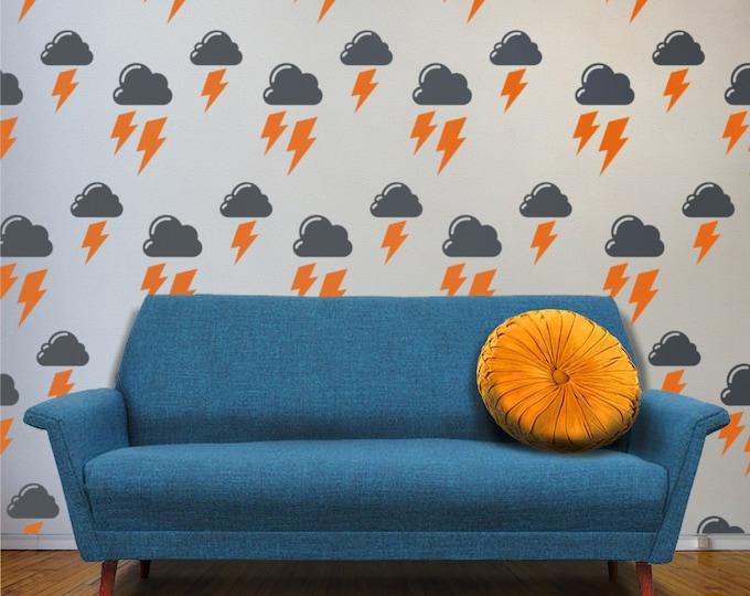 cloud and lightning bolts vinyl wall decal set, stormy days pattern wall decals, cloud art, lightning wall decor