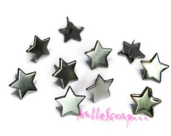 Set of 10 silver stars 13 mm embellishment scrapbooking brads *.