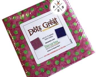 "Benartex Dots Great Batiks Precut 5"" Charm Pack Fabric Quilting Cotton Squares SQ126"