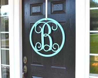 Round | Monogrammed Door Wreath| Front Door Wreaths | Front Door Monogram | Front Door & Front door monogram | Etsy