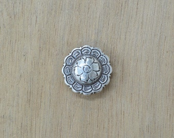 "Antique Silver Round Floral Western Concho 1 1/4"" 36743"