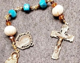 SALE RESERVED Rosary Turquoise Howlite Bronze Unbreakable Wire Wrap HeartFelt Rosaries
