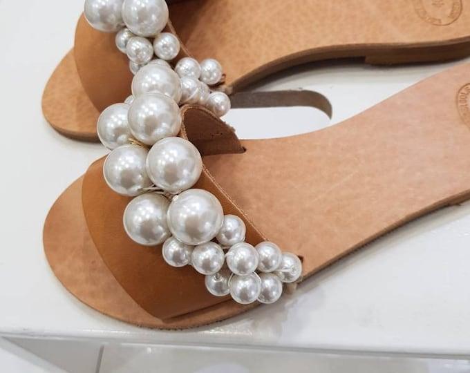 Free dhl,Greek sandals,slides,women shoes,wedding slides,luxury,pearl slides,leather sandals,handmade sandals,flats,handmade