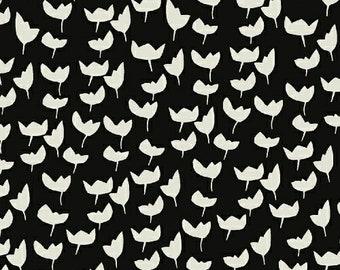 1 Yard HEMMA Lotta Jansdotter TULIPS Floral 42115-8 EBONY Modern Graphic Windham Scandinavian Quilting Sewing Fabric