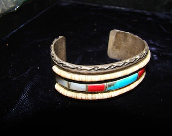 NA 1-S Native American Turquoise, Coral, and Mother  of Pearl Bracelet