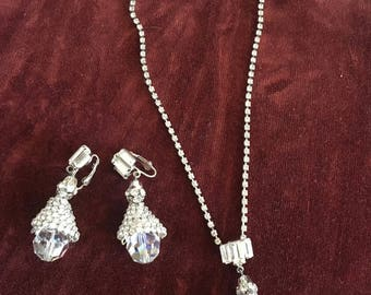 Rhinestone Pendant Necklace with Clip On Earrings