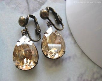 Stella - Estate Style Champagne Crystal Clip Ons - Created with  Golden Shadow crystals from Swarovski®  Champagne Clip on crystal earrings
