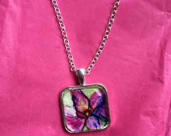 OOAK Watercolor Flower Pendant - Fine Art Necklace