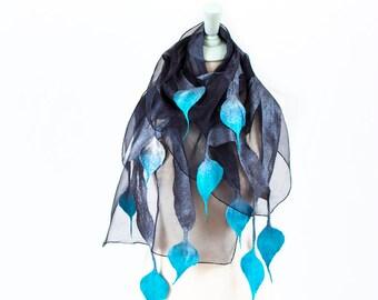 Felted scarf, Merino scarf, Nuno Felted Shawl, Felt silk scarf, Silk wrap, Womens silk scarf, Hand painted scarf, unique scarf, silk scarf