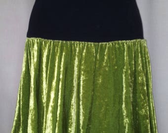 Gathered skirt with stretch waist ruffle and black silk velvet circle asymmetrical absinthe Green