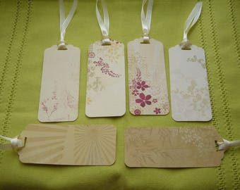 Set of 6 labels set Japanese hand-made with satin ribbons